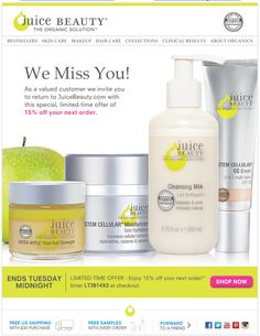 juice beauty. we miss you. win-back email campaign. simple copy. email marketing