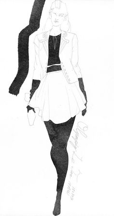 https://flic.kr/p/wzMScP | Today's Drawing 150819 by Ko.Machiyama | The sample photo via internet. Olympia Le-Tan, 2015AW.