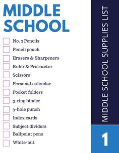 Middle School Supplies List