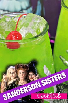 For fans of Hocus Pocus, the Amok Amok Amok! Sanderson Sisters Cocktail is a must-drink this Halloween! Made with fruit juices, rum, apple brandy, and blue curaçao - this twisted concoction tastes magical! #HalloweenCocktails #ThePurplePumpkinBlog Cheap Halloween, Halloween 2020, Happy Halloween, Disney Cocktails, Fall Cocktails, Disney Diy, Disney Food, Cocktails Made With Rum, Rainbow Smoothies