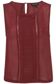 Topshop Pleat and Bow Shell Top in Red (burgundy) Topshop, Shell Tops, Couture Tops, Work Wardrobe, Office Outfits, Beautiful Outfits, Beautiful Life, Types Of Fashion Styles, Blouses For Women