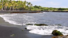 Punaluu, Hawaii.  Not great for swimming but check out the black sand beach! #beach #travel #hawaii