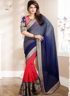 Blue And Pink Designer Party Wear Saree http://www.angelnx.com/