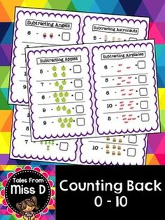 This pack of 10 worksheets can be used for your students to practice the counting back strategy. Each page combines numbers and pictures. Numbers range from 1-10.