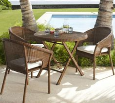 PALMETTO ALL-WEATHER WICKER FOLDING ROUND FIXED BISTRO TABLE - HONEY