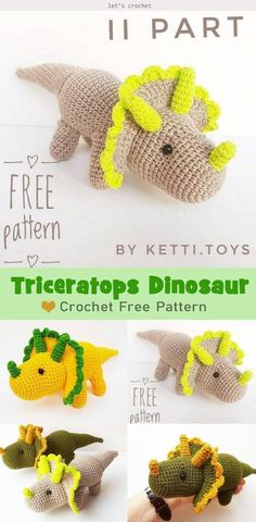 Amigurumi Triceratops Dinosaur Free Crochet Pattern is so great to DIY mini Triceratops Amigurumi for children to play. Triceratops were actually gentle. Crochet Dinosaur Pattern Free, Crochet Amigurumi Free Patterns, Crochet Blanket Patterns, Crochet Dolls, Cute Crochet, Crochet Crafts, Crochet Projects, Crochet Basics, Crochet For Beginners