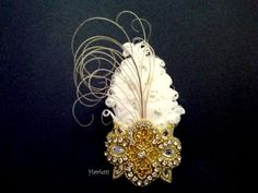 wrist corsage 1920s Great Gatsby gold & white feather by Hairfetti