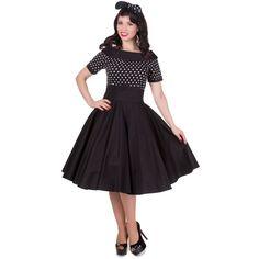 Darlene Retro Full Circle Swing Dress in Black