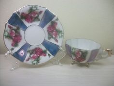 Tea Cup & Saucer:  Blue & White With Pink Flowers & Gold Trim