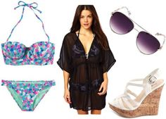 What to wear in Las Vegas: Outfit 2 - Poolside: bikini, cover-up, wedges, aviators