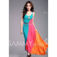 $11.48 Gorgeous Colorful Slant Stripe Print Irregular Hem Summer Long Dress With Belt For Women