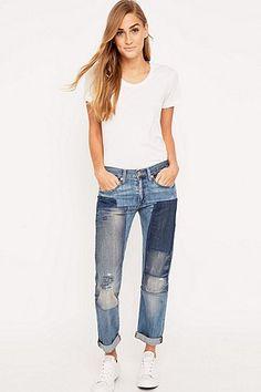 Denim & Supply Ralph Lauren – Boyfriend-Jeans mit Flicken in Blau