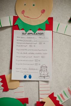 Have students apply to be an elf. I would modify for upper elementary by having students write a persuasive proposal explaining why they are right for the job! Love the display.