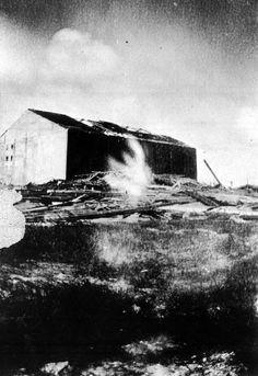 Jai alai (Spanish ball) fronton in Hialeah damaged during hurricane.