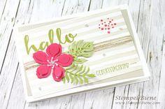 StampinUp Botanical Garden; Stampin Up Botanical Gardens; StampinUp Brushstrokes; Birthday Card Stampin Up; quick birthday card crafts; Stamp Bee