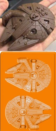 star wars millennium falcon silicone ice tray used as chocolate molds.