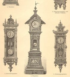 1905 Clocks, Longcase Clock, Tall-case Clock, Weight Driven Clock Original Antique Engraving to Fram Pendulum Clock, Antique Clocks, Designs To Draw, Big Ben, Tower, Victorian, Carving, Grandfather Clocks, The Originals