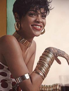 Rihanna in golden choker necklace, hoop earrings andstackedbangles for Vogue Brasil May 2014