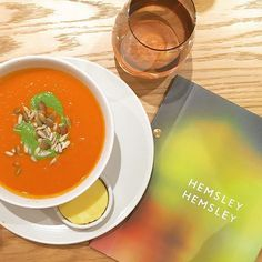 Tomato soup served with Quinoa Courgette Toast and grass-fed organic butter. Hemsley And Hemsley, Organic Butter, Tomato Soup, Quinoa, Grass, Good Food, Food And Drink, Healthy Recipes, Eat