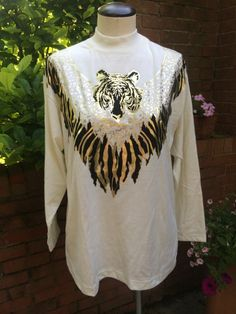 Vintage White Metallic Tiger Print Long Sleeve Tee #Obvious