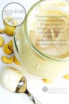 Nata ácida/Crema agria vegana sin lácteos. Receta, para qué la podemos usar, qué es la levadura nutricional etc. www.helenmedal.com