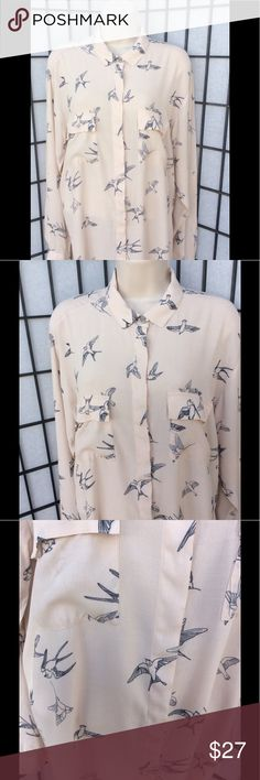 "Zara Basic Pale Pink ""Birds in Flight"" Blouse 100% Viscose, hidden buttons all the way from the neck down.  2 breast pockets. Sleeved can be word rolled up or down.  Wear buttoned or with a cami. Birds are outlined in navy blue. Zara Tops Blouses"