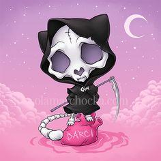 Grim Reaper Kitty by aleksandracupcake on DeviantArt Cute Animal Drawings, Cute Drawings, Grim Reaper Cartoon, Gothic Drawings, Pastel Goth Art, Gothic Fantasy Art, Beautiful Dark Art, Cupcake Drawing, 4 Tattoo