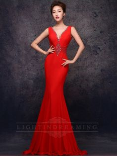 Pluging Neckline Mermaid Red Prom Dress 150601tb07
