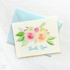 Illustrated Floral Thank you Card Set of 8 by MospensStudio