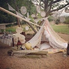 Lace and crochet tent made for photo shoot #milkandhoneyfarm