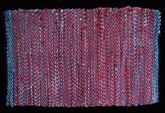 "Repin to this board as an in-class ""how to repin"" demonstration.  Red recycled t shirt fabric and denim from recycled blue jeans trade places in the stripes in this handwoven rag rug.  $595, 48"" x 31"".  See this #rug and more at http://rugsfromrags.com/shop/red-and-denim-woven-rag-rug/#"