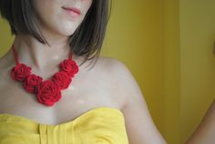 Red Rose Necklace made with Recycled Red Cashmere. Yes, please.