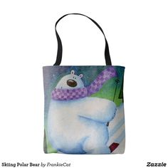 Skiing Polar Bear Tote Bag