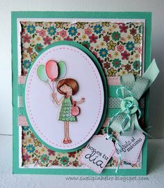 Otra tarjeta de cumpleaños de Sueli, imagen de Esther Cagigal para Latina Crafter