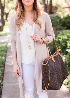 @brightonkeller // cream long cardigan + white camisole + white jeans + lv neverfull tote