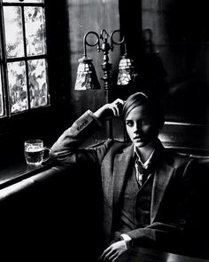 femmedandy:  exsouthernbelle:  holyshit.  So casually debonair with that beer. As if she weren't, you know, Emma Watson. In a suit.