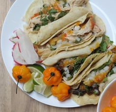 Chicken and steak tacos with trinidad hot sauce [oC]
