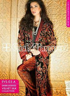 Gul Ahmed Embroidered Silk Velvet Coats 2014-2015-Gul Ahmed Latest ...