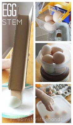 Real egg STEM activities for hands-on learning. Explore gravity weight, sink/float with real egg activities for preschool and kindergarten science. Make a simple egg drop STEM challenge. Easter science activities.