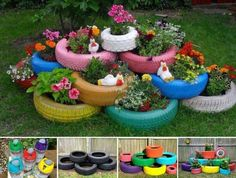 DIY Recycled Garden Art Explore the World of Garden Art DIY Recycled Garden Art. World of garden art is just an extension of your home décor and can be organized in a lot more fun way than you can … Backyard Planters, Tire Planters, Backyard House, Diy Garden Projects, Garden Crafts, Garden Ideas, Diy Crafts, Homemade Crafts, Backyard Ideas