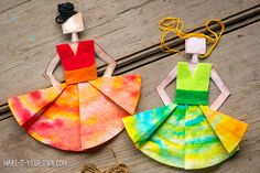 Make these fun dancers with coffee filters - then turn them into a garland!