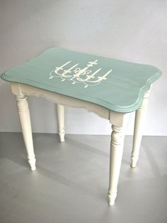Shabby Side Table Vintage Table Wood Table Aqua by Swede13 on Etsy, $75.00