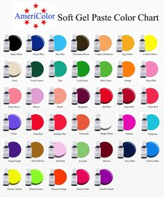 AmeriColor Soft Gel Paste™ Color Chart ................... Colors more accurate on this chart