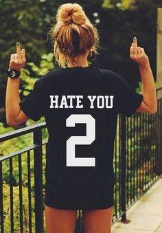 532850e2449 Buy HATE YOU 2 TEE shirt tshirt top unisex Mens Womens unisex Fashion t  shirt in Women's T-Shirts on AliExpress
