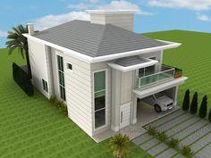 Projetos | My House Plans, Modern House Plans, House Floor Plans, Roof Design, Exterior Design, House Outside Design, Classic House Design, Duplex, Round House