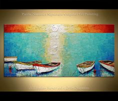 Painting Boats ORIGINAL Abstract Oil heavy pallete by Artcoast
