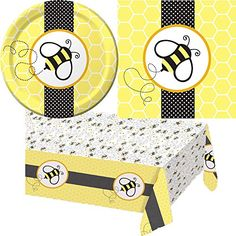 Creative Converting Baby Shower Buzz Party Supplies Pack Including Plates, Cups, Napkins, and Table Cover for 16 Guests. Creative Converting http://www.amazon.com/dp/B00L2JG5RU/ref=cm_sw_r_pi_dp_OibRtb1BV3WCF9WM