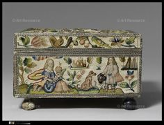 , 17th century CE, Casket, Dog, Embroidery, Female, Flower, House, Man, Metal, Mica (mineral), Parrot, Pearl, School, English, Silk, Smell, Five Senses, Squirrel, Woman, Wood