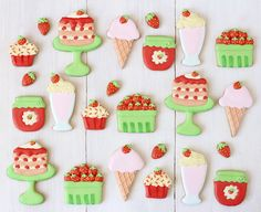 Galletas decoradas con glasa para el verano: fresas y helados