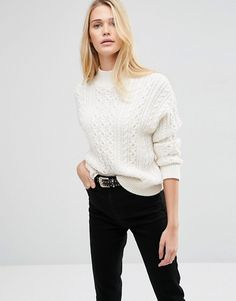 ASOS | ASOS Sweater With Cable Stitch And High Neck